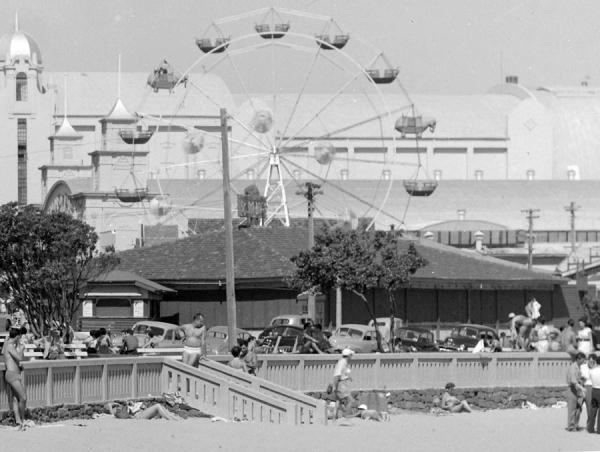 View of Scoota Boats building from beach ca 1954