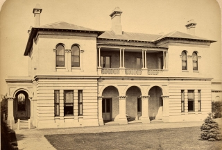 View of west elevation 1872, the home of John F McMullen